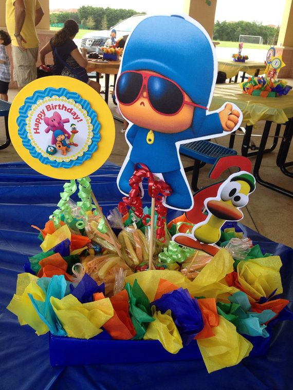 This listing is for ONE colorful Pocoyo centerpiece - snacks holder. Snacks not included.  3 Double sided Cutouts included. They are made with