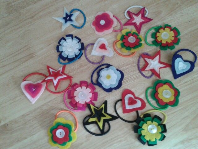 Felt hair bands for the school fete