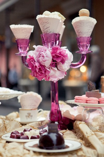 I love the cones in the candlestick: Bridal Desserts, Eyck Www Carlateneyck Com, Candles Holders, Glasses Centerpieces, Tables Centerpieces, Buffets Closeup, Wedding Table Centerpieces, Candlesticks Ideas, Desserts Buffets