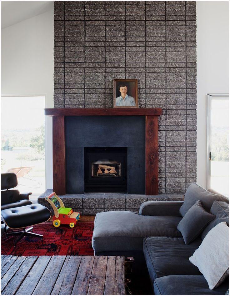 Living Room Midcentury Kansas City Area Rug Brick