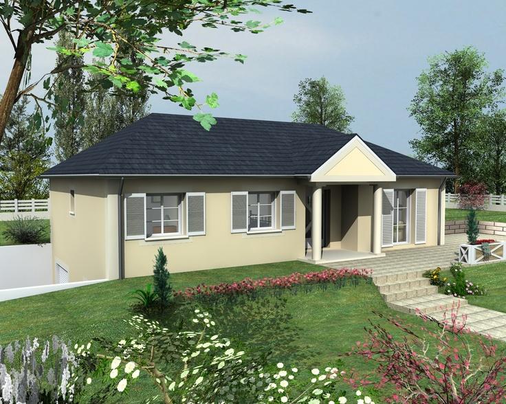 Ang le est un mod le de maison sur sous sol avec porche fronton et colonnes elle poss de 5 - Maison avec porche d entree ...