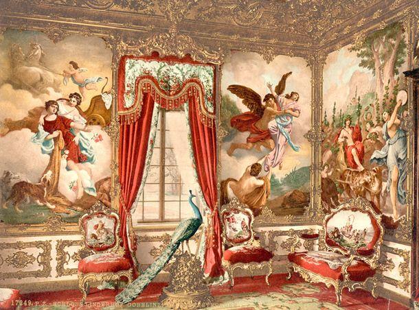 Одна из комнат в замке Линдерхоф. Это единственный замок короля ЛюдвигаII, достроенный приего жизни.