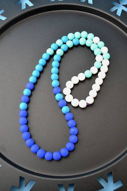 SALE Ombre blue Colors Silicone bead necklace with bonus, FREE SHIPPING--limited edition, water proof, rubber, food grade, baby, mother