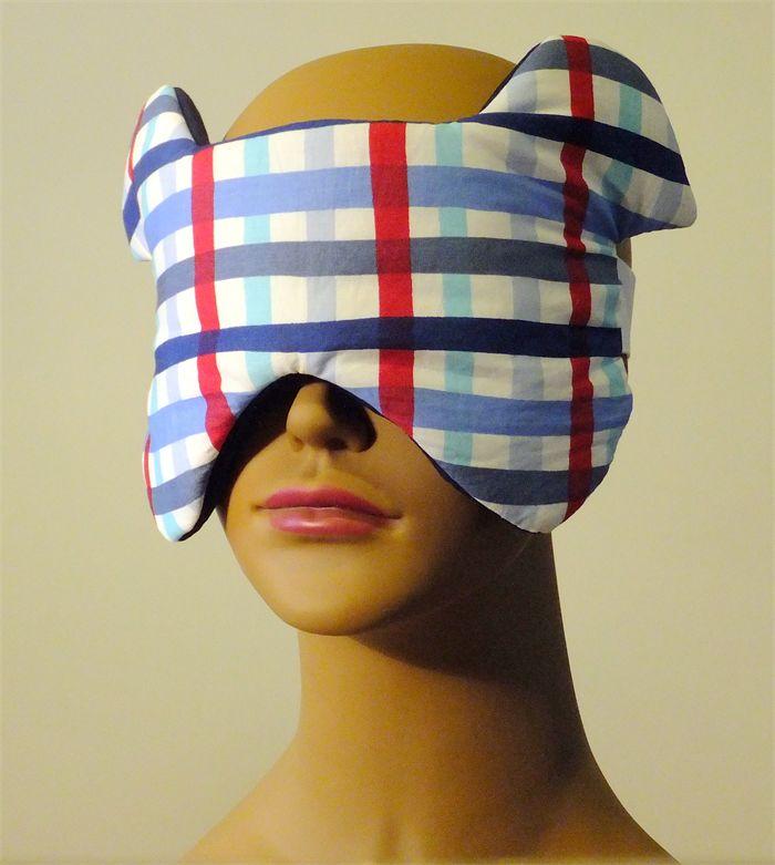 Puppy Dog Ears Sleep/Eye Mask Blue, Red Stripes, Navy Cotton
