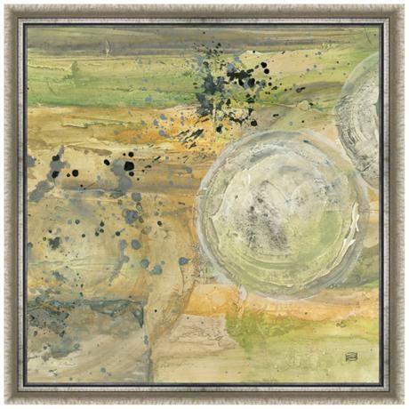 Golden universe ii 24 square silver framed canvas art