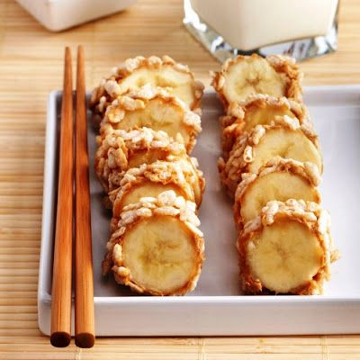 """Rice Krispies Peanut Butter Banana """"Sushi"""". These were made with PB2 (peanut butter powder). What's the word on that product? Healthy alternative? Taste good?"""