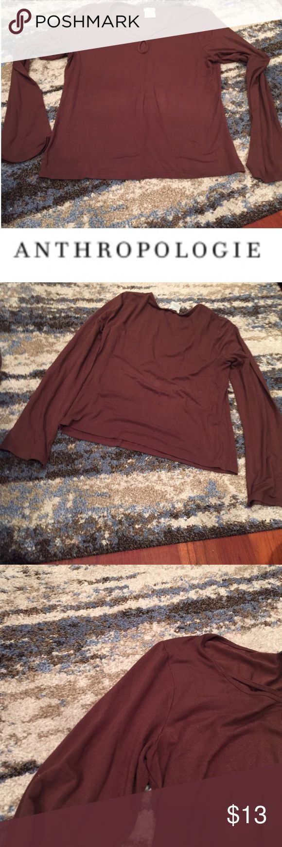 Anthropologie Odille Brown Long Sleeve Top Anthropologie Odille Brown Long Sleeve Top. Cut out neckline. 20 inch bust. 23 inches long. Gently worn. Great condition. Feel free to make an offer or bundle & save! Anthropologie Tops