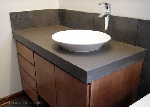 Lovely Concrete Vanity Top With Vessel Sink. #Concrete #Vanity Tops  Trueform  Concrete Custom