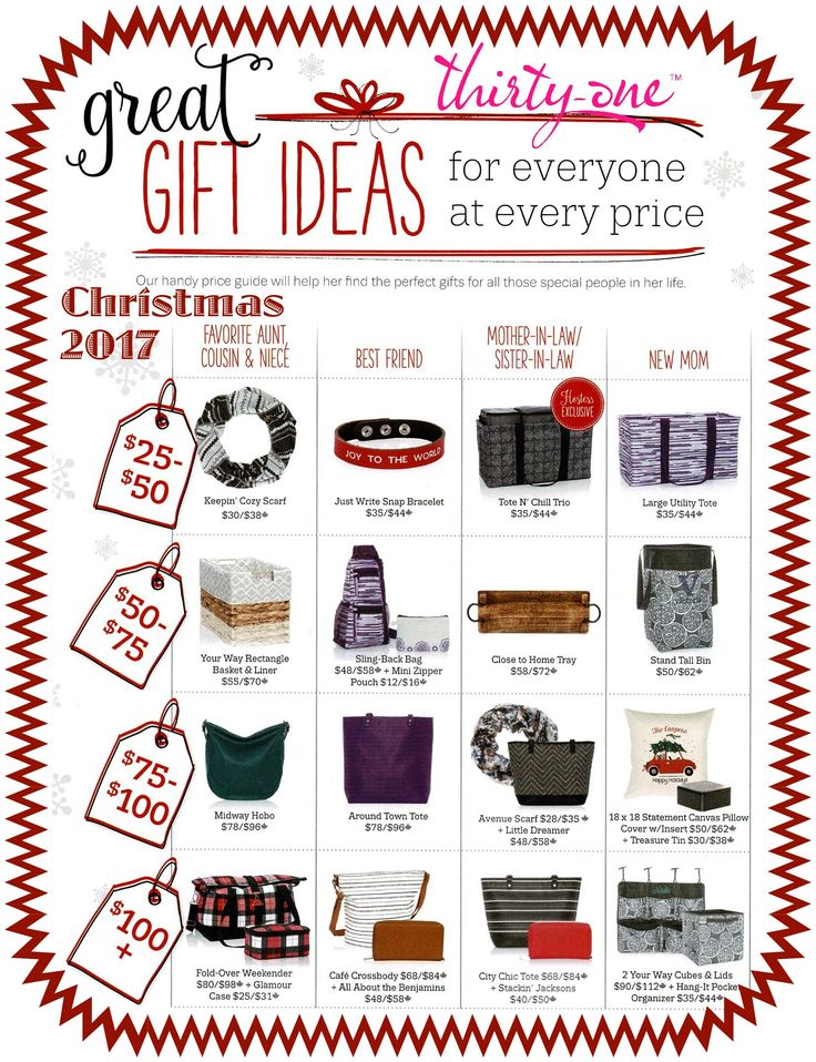 #31 - GREAT GIFT IDEAS for everyone at every price. Thirty-One Gifts has items for all your Christmas or holiday gift giving needs. Keepin' Cozy Scarf, Sling-Back Bag, Midway Hobo, Stackin' Jacksons, Statement Pillows and Treasure Tins, all make great gifts for your family and friends. See all options at MyThirtyOne.com/PiaDavis or find your consultant in the upper right corner of the website.