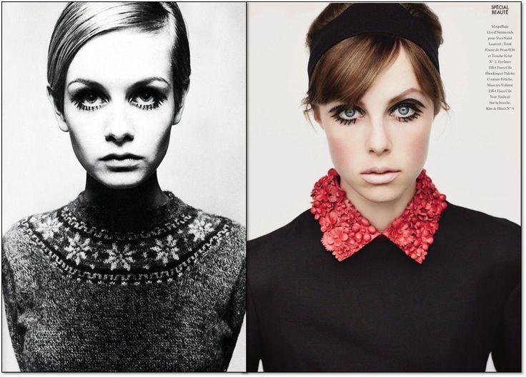 Слева: 1966 г. Модель: Твигги (Twiggy). Фотограф: Барри Лейтган (Barry Lategan). Справа: Elle. Франция. Сентябрь 2014 г. Модель: Эди Кэмпбелл (Edie Campbell). Фотограф: Лиз Коллинс (Liz Collins). #fashion #fashioninspiration #style #60s #1960s #SperanzaFirsace