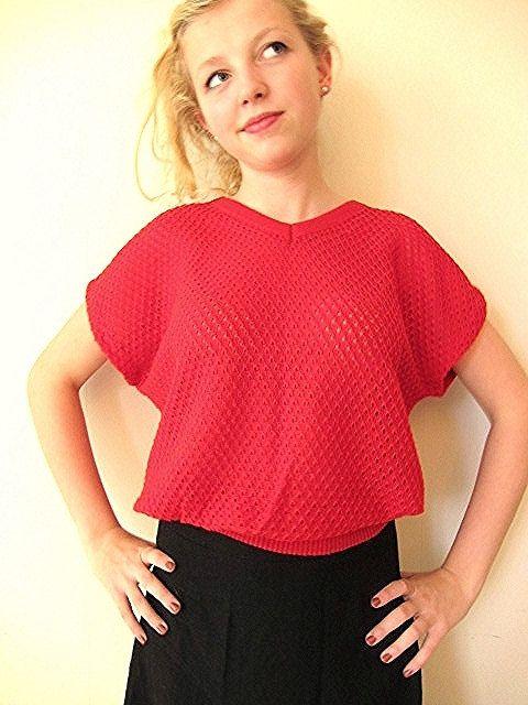SALE Strawberry Red Sweater M/L by vonBingen on Etsy