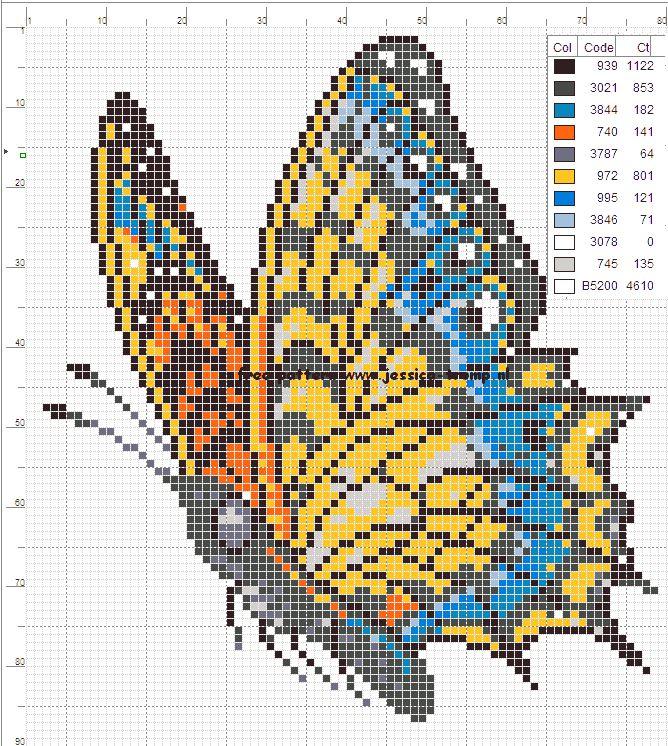 borduurpatronen vlinders cross stitch butterfly charts