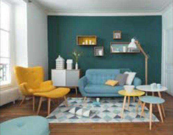 Luxury Wie die Sonne und das Meer erstrahlt ein Wohnzimmer wenn man es in den Kontrastfarben Gelb und Blau einrichtet Durch die Wahl von Curry Gelb sowie T rkis