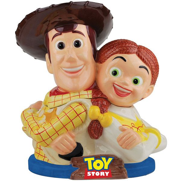 Pixar Toy Story Woody & Jessie Cookie Jar ($35) ❤ liked on Polyvore featuring home, kitchen & dining, food storage containers, cookie jar, biscotti cookie jar, ceramic cookie jar, food safe storage containers and cookie tins
