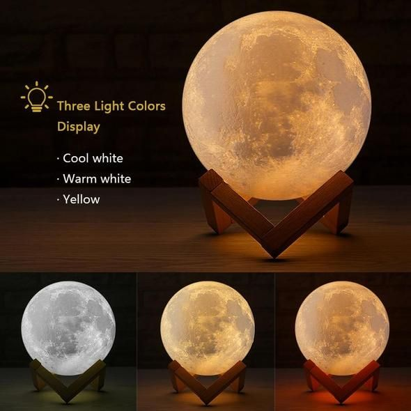 Rechargeable 3d Lights Print Moon Lamp 3 Color Change Touch Switch Moon Light Bedroom Led Night Light Modern Light Fixtures Modern Ceiling Fan Led Night Light