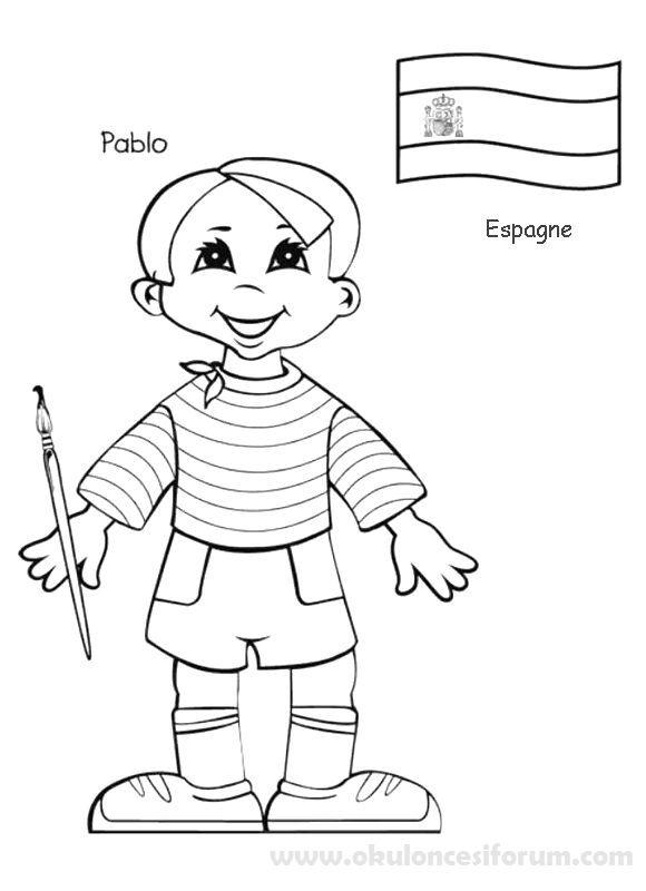 Dunya Cocuklari 23 Nisanda Okul Oncesi Etkinlikleri Boyama Kitaplari Boyama Sayfalari Nisan