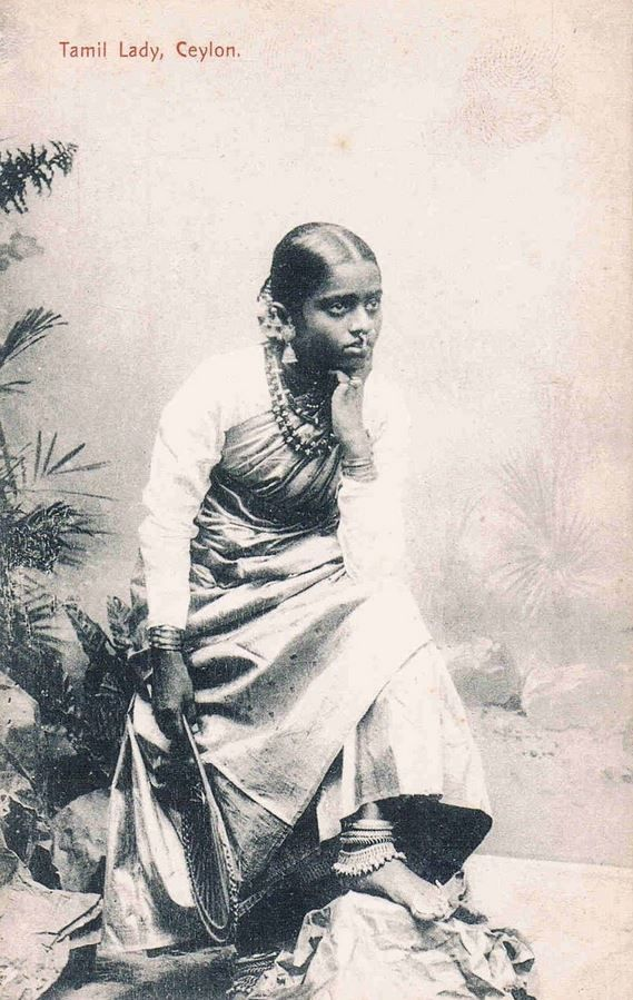 Tamil girl in 1910s Ceylon. The sari is about 6-7... - Vintage Indian Clothing