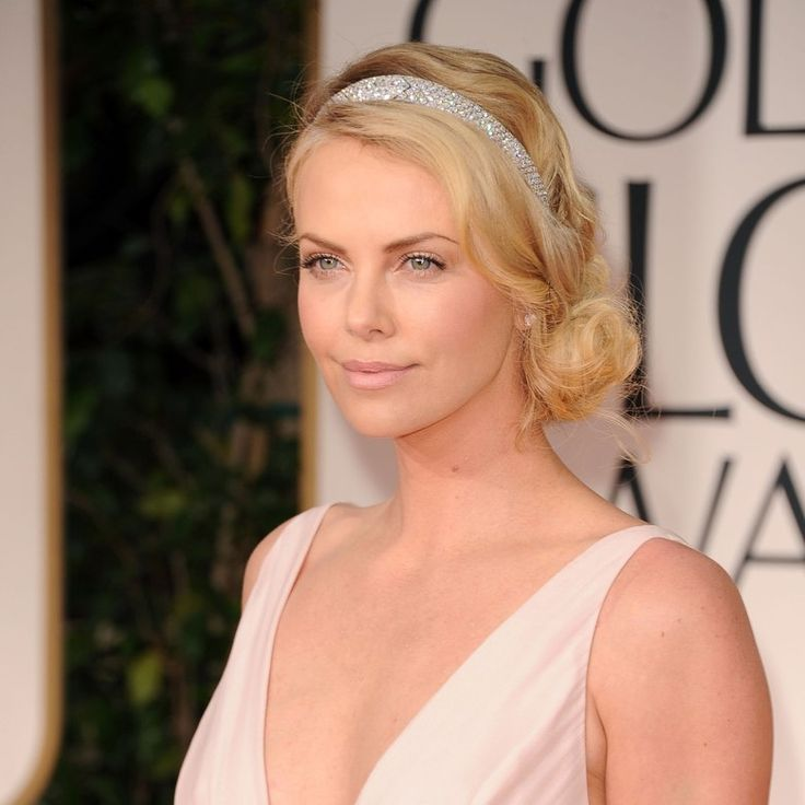 "A jeweled headband is a gorgeous alternative to a veil. ""Charlize Theron looks sexy, and the low, roughed-up knot keeps the style from looking dated,"" says hairstylist Ted Gibson of Ted Gibson Salon in New York City."