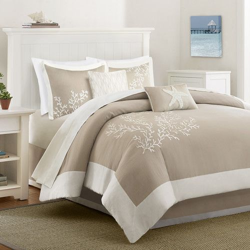 Features:  -Jacquard with coral embroidery, pieced border and solid pattern.  -Coastline collection.  -Coastal style.  Product Type: -Comforter/Comforter set.  Style (Old): -Coastal.  Color: -Khaki/Wh