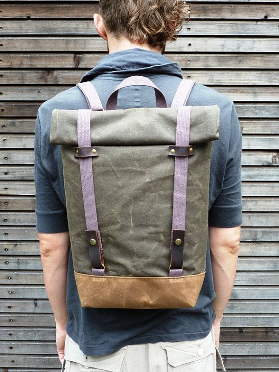 Waxed canvas rucksack/backpack with roll up top and double waxed bottom UNISEX