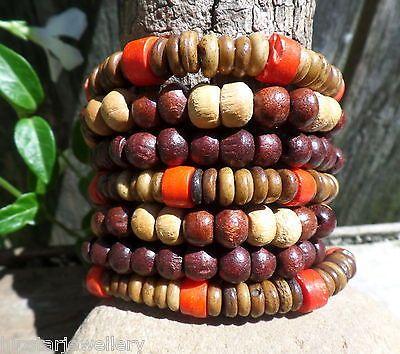 7-Strands-Wood-Bone-Bead-Bracelet-Bunch-Set-RED-Allergy-Free-hipstarjewellery