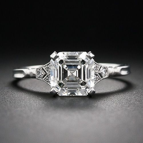 2.00 Asscher-Cut Diamond Engagement Ring - Lang Antiques - Different and beautiful!
