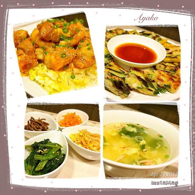 今日は、大好きな韓国料理♡ - 86件のもぐもぐ - チーズブルダック、海鮮チヂミ、4種のナムル、玉子スープ by ayako1015