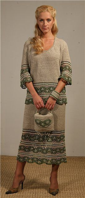 Gorgeous crochet suit with matching purse……….