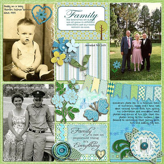 Project Life layouts created with  Enchanted Digital Scrapbook Kit in Turquoise, Yellow Golds and Green
