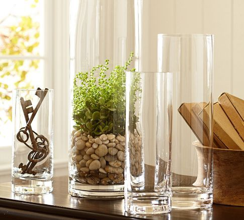 Aegean Clear Glass Vases Pottery Barn Home Accent Centerpiece Decor Vase Fillers