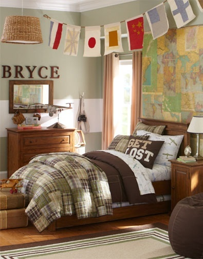 Love to put a big map on one wall.  Like the flag banner hanging from ceiling, and big stripe across wall.  Boys Bedroom Idea 14 | Pottery Barn Kids