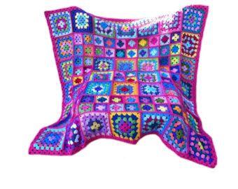 Crochet afghan handmade crochet blanket kaleidoscope crochet | Etsy