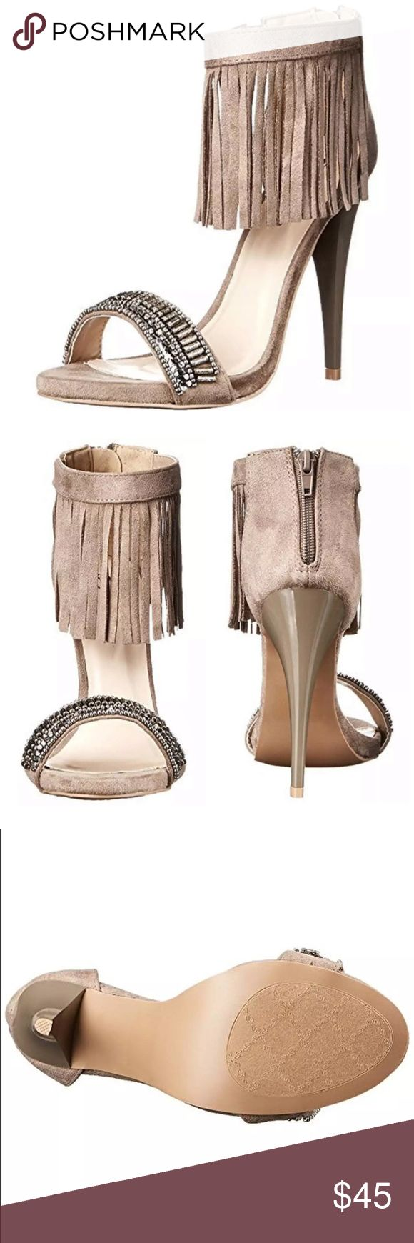 🆕Listing! Fringe Ankle Bling Heel! NEW! Amazing heels! Light taupe. Faux suede. NIB! Shoes Heels