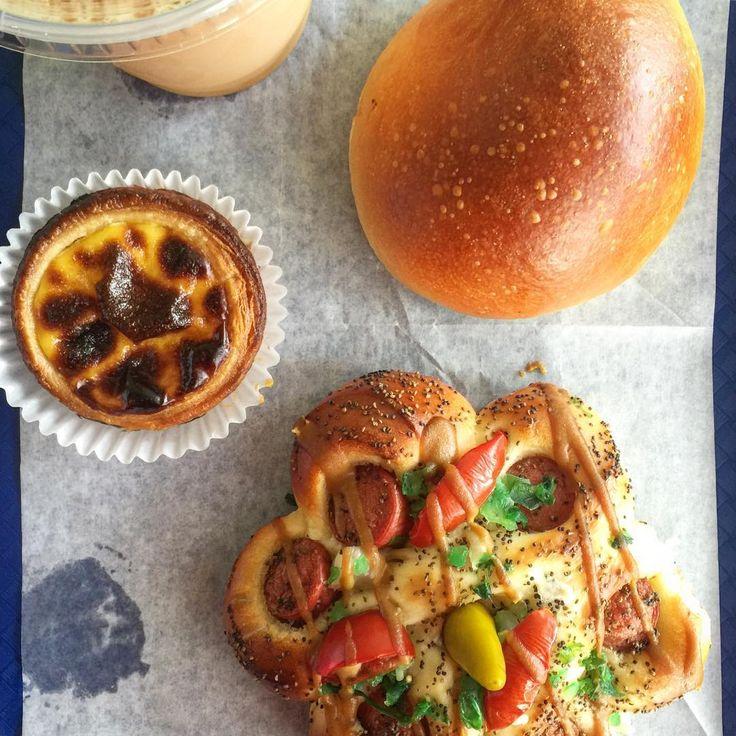 Fat Rice - Chicago --  well-rounded breakfast #TheBakery @eatfatrice • #charsiu #milktea #pasteldenata #hotdogbun : hugegaldones - instagram