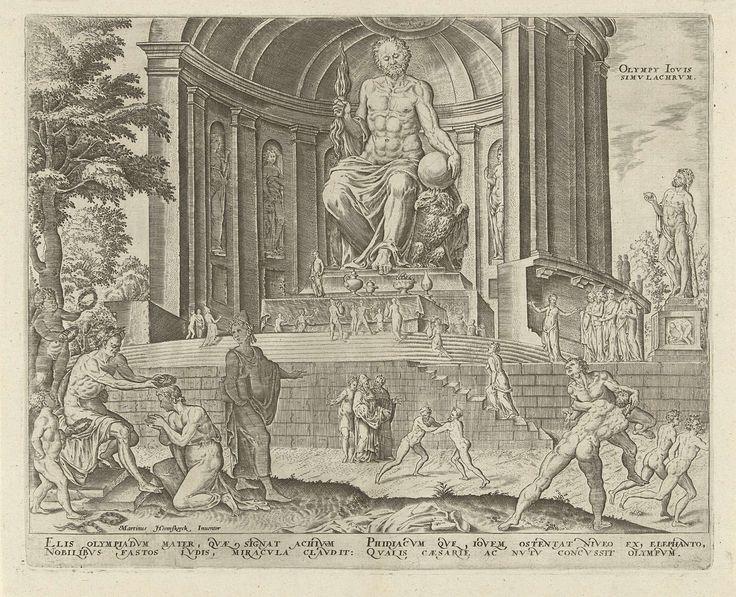 Philips Galle | Standbeeld van Zeus in Olympia, Philips Galle, Hadrianus Junius, 1572 | Het beeld van Zeus bevond zich binnen in de Dorische tempel van Olympia, op de Griekse Peloponnesus. Het werd omstreeks 433 v. Chr. gemaakt door de Atheense beeldhouwer Phidias. Rechts van de tempel een beeld van Hercules. Op de trappen voor de tempel mensen die het beeld van Zeus aanbidden. Op de voorgrond rechts Olympische worstelaars en renners, links wordt een van de winnaars gelauwerd. De prent heeft…