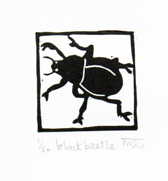 Black Beetle original linocut by Melanie Wickham adding a border makes it easier to print