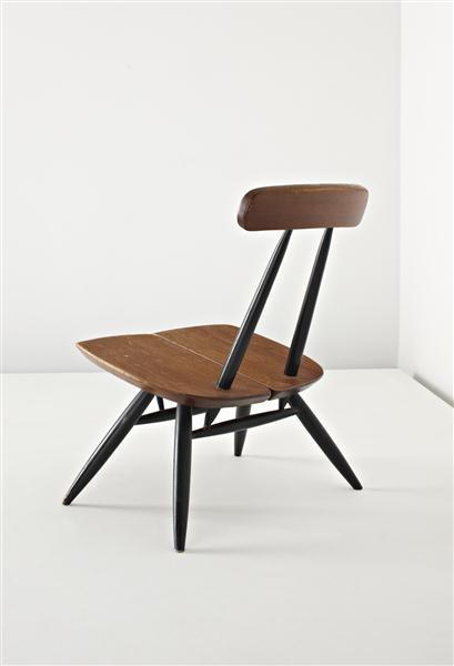 Ilmari Tapiovaara; Pine and Ebonised Wood Low 'Pirkka' Chair for Asko, c1960.