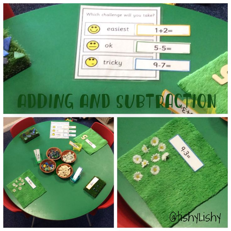 Maths activity using simple + and - cards from Twinkl and loose parts.