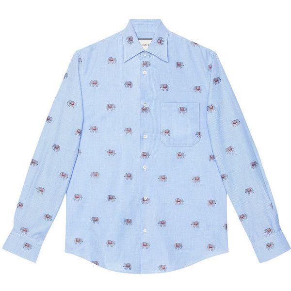 Gucci Elephants fil coupé Duke shirt ($420) ❤ liked on Polyvore featuring men's fashion, men's clothing, men's shirts, men's casual shirts, blue, mens blue shirt, mens embroidered shirts, men's curved hem t shirt and mens jacquard shirts