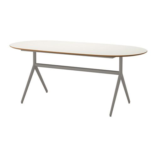 IKEA - SLÄHULT, Table, Oppmanna gray, , The melamine table top is moisture resistant, stain resistant and easy to keep clean.The table top has pre-drilled holes for the underframe which makes assembly easy.