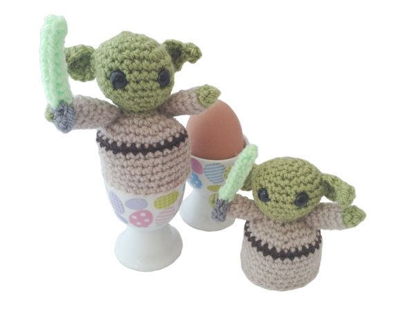 Pair of Yoda Egg Cozies Handmade Star Wars by Giftsbyjenny, $37.00 cute kawaii amigurumi crochet star wars egg cosies for easter great gift for little boys and scifi geeks