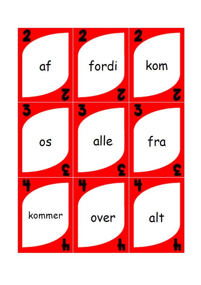 Dette materiale er udarbejdet af Mette Christiansen.  Det klassiske uno spil, men til brug i dansk undervisningen med de 120 ord.UNO...