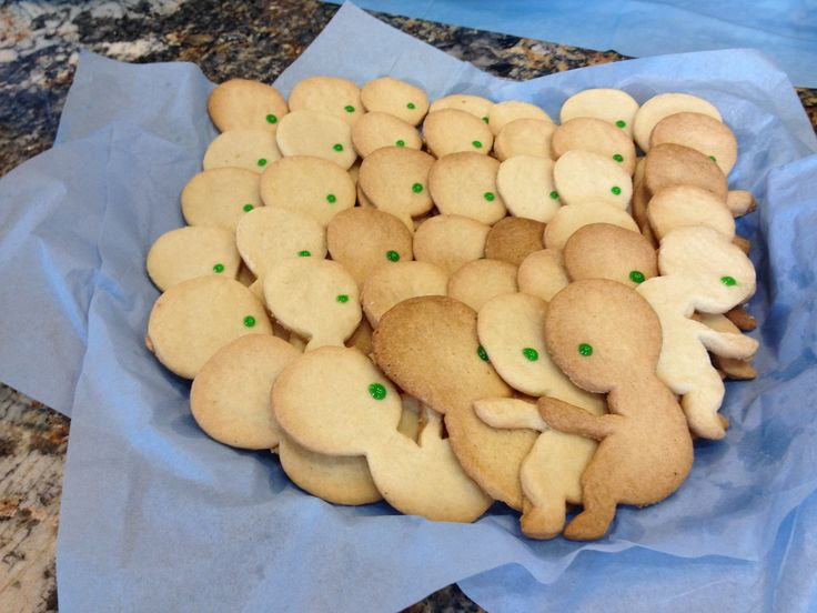 Fetus cookies. These were green eyes and the other platter had brown eyed. Each representing the color of mine and my husbands eyes. It was a blind study to see which ones were more attractive to eat. The green eyes went first.