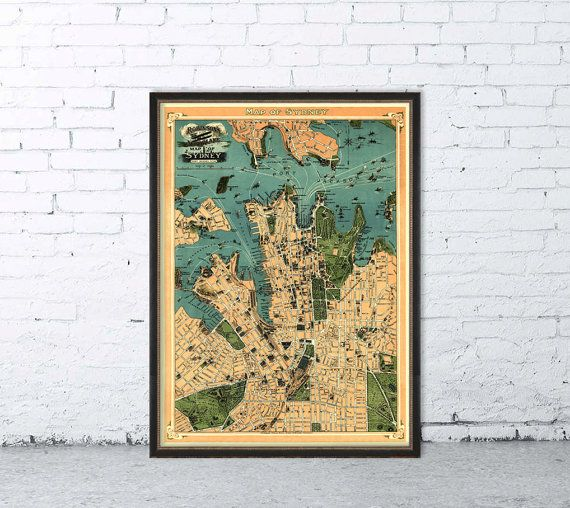Sydney Karte Australien  alte Karte von Sydney  von AncientShades
