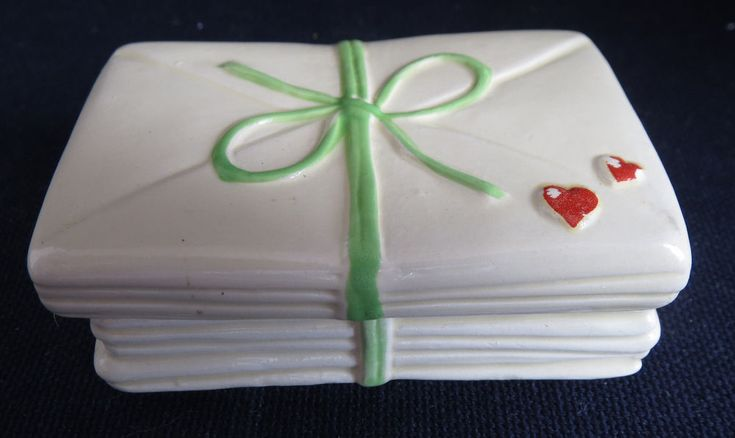 1980 Enesco Valentine's Day Love Letters Stack Small Candle Holder Trinket Box