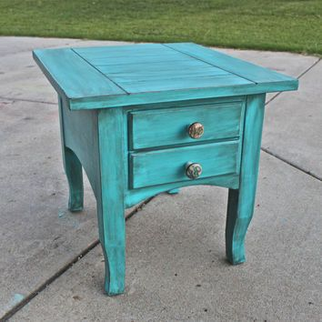 Teal end table living room