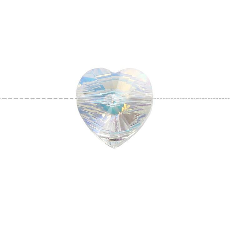 Swarovski® bead crystal AB heart, 10mm. pk12