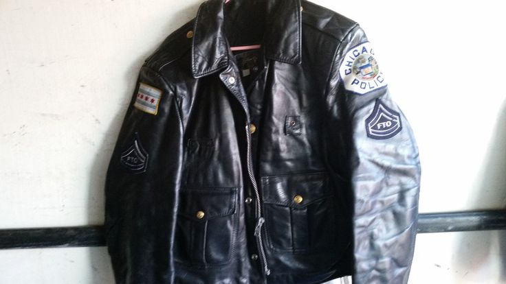 Awesome! Retro Leather Chicago Police Officers Jacket Small Size Woman Or Child