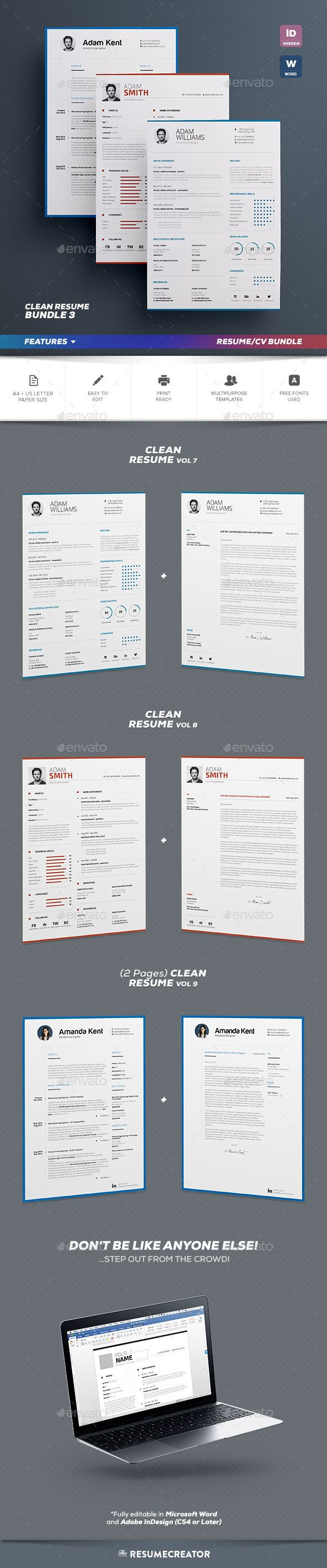 cv and resume format%0A Clean Resume Cv Bundle Vol