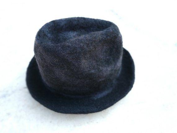 Felted Hat winter hat, Wool hat for lady, original gift, felt hat women,Boho Hat, black felt hat, Classic Black Felt Hat, Men's black hat – Products